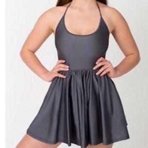 American Apparel purple halter skater dress